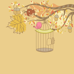 autumn card with bird and birdcage