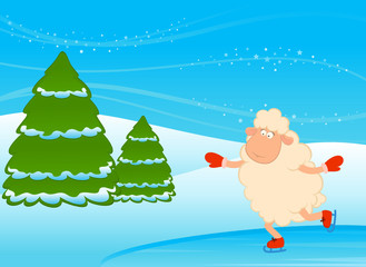 Cartoon funny sheep goes for a drive on skates. Vector