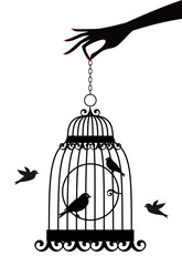 Recess Fitting Birds in cages hand with birdcage, vector