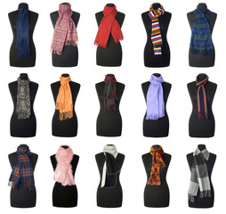 Scarfs collection #3 on female mannequin torso | Isolated