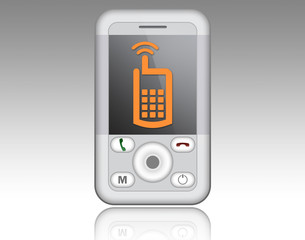 Smartphone with cell phone symbol on display
