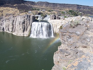 Rainbow in the mist of Shoshone Falls waterfall