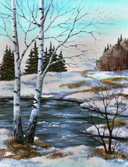 Two birches at the river, spring