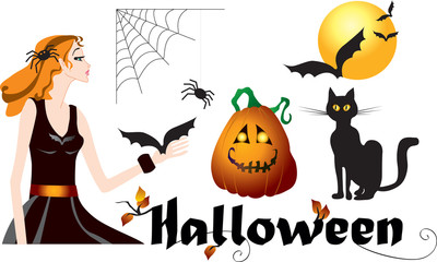 Set of halloween symbols
