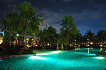 Swimming pool in night illumination, Pattaya, Thailand