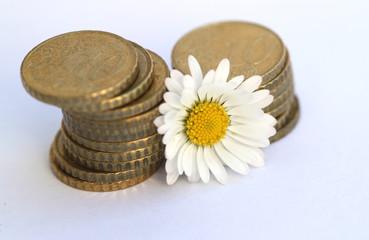 10 Cent Stapel mit Blume III