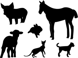 baby animals silhouette vector
