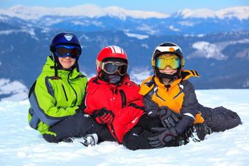 Children in ski clothes