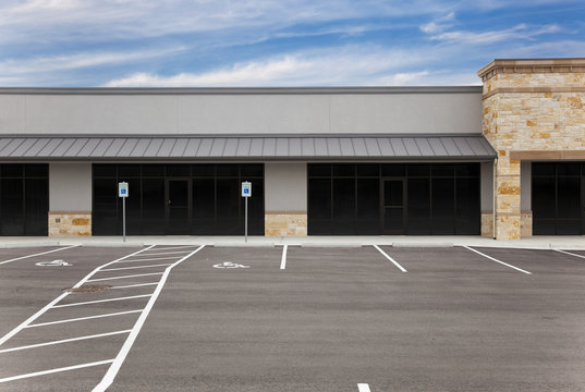Strip Mall - Blank Signs and Parking Lot