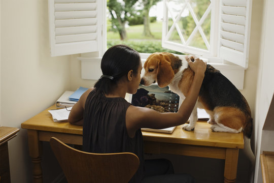 African woman at desk with dog