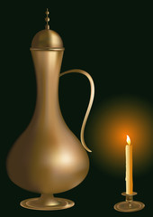vector bronze teapot and candle