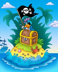 Foto auf AluDibond Pirates Small island with chest and parrot