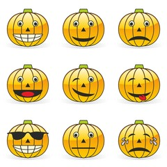 Vector - illustration of pumpkin emoticons
