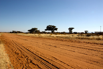 Gravel road in Namibia on our way to Soussuvlei