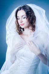 Printed kitchen splashbacks Artist KB blue toned portrait of young tender bride