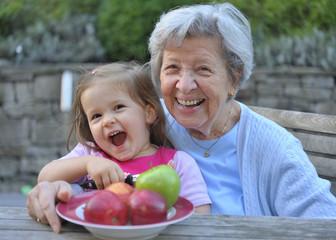Grandma & Granddaughter with Apples 1