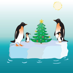 Penguins and a fur-tree on an ice floe.