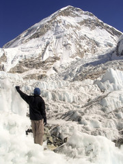Wall Mural - Climber stands in the Khumbu Ice-field, Mt Everest, Nepal.