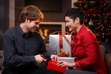 Happy couple preparing for christmas