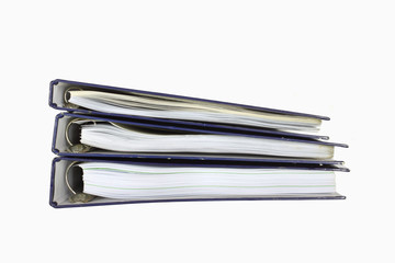 Folder stack with papers on white background.