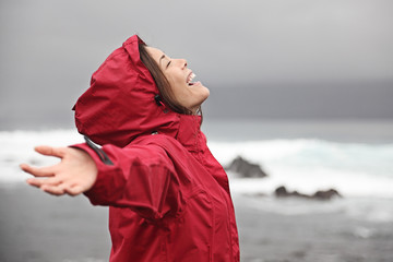 Woman enjoying rain weather