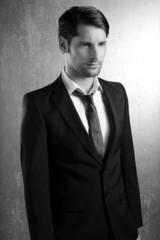 Classic elegant suit handsome man portrait