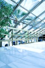shiny ceiling inside clean hallway