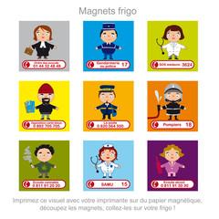 magnet frigo, numéros utiles