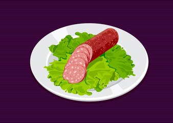 Sliced sausage with salad on the white plate