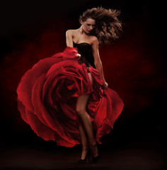 Printed kitchen splashbacks Artist KB Beautiful dancer wearing red dress