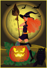 Halloween card with girl and cat, vector