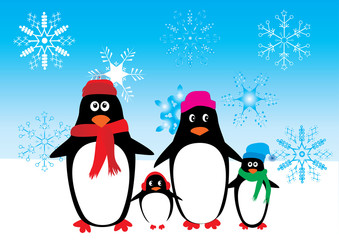 penguin family with snowflakes