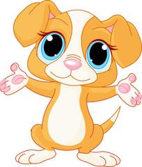 Fototapete - Puppy raising his hands