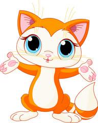 Fototapete - Kitten raising his hands