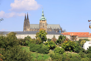 View on the summer Prague gothic Castle