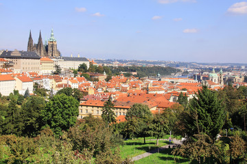 View on the summer Prague gothic Castle above River Vltava