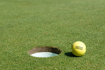 practice golf ball on green near hole