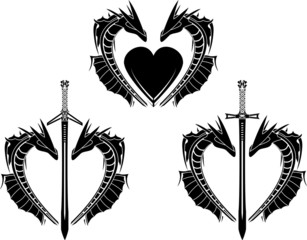 set of hearts of dragons. stencil