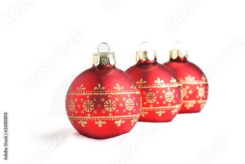 Rote Christbaumkugeln.Rote Christbaumkugeln Isoliert Auf Weissem Hintergrund Stock