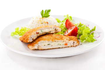 Stuffed turkey fillet with white rice  and vegetable salad