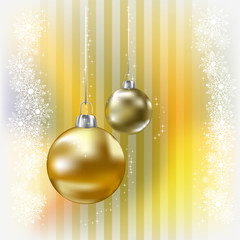 christmas balls and snowflakes on a yellow background