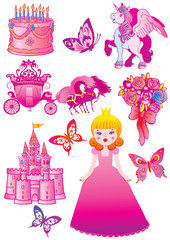 Printed roller blinds Castle Fairy princess collection. Vector art-illustration.