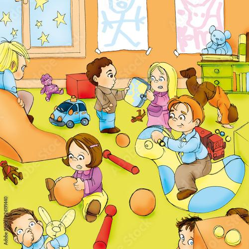 Illustration cr che enfants jouant photo libre de - 123rf image gratuite ...