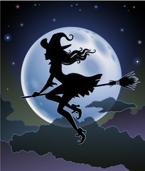Silhouette of a Witch against the full moon