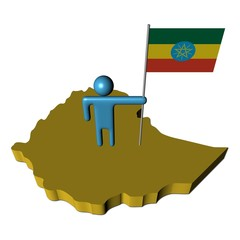 abstract person with flag on Ethiopia map illustration
