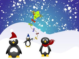 Pinguin Familie mit Drachen