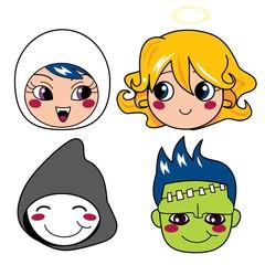 Poster de jardin Creatures Set of four monster face masks for halloween