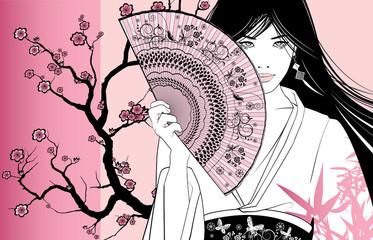 Photo sur Aluminium Art Studio geisha on a pink floral background