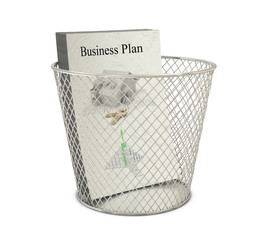 Bin and papers with text and images