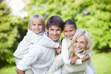 Young families with children outdoors